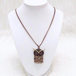 Jewelry - Gold & Black Stone Owl Necklace